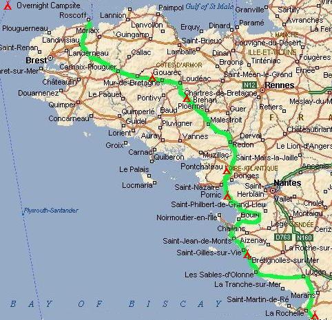 Bike ride to Santiago de Compostela Roscoff to La Rochelle